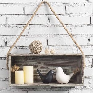 Rustic Torch Wood Floating Shelf Box with Rope